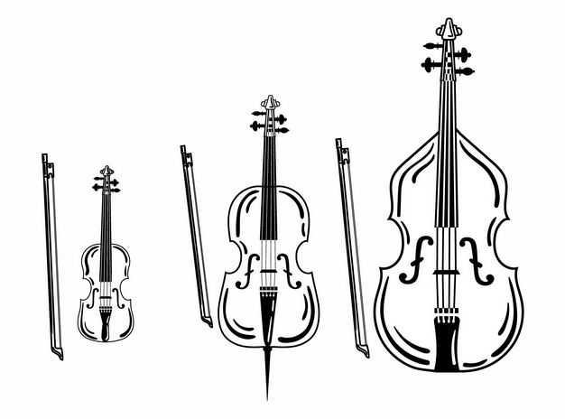 三款小提琴大提琴音乐乐器黑白插画8856508EPS图片免抠素材