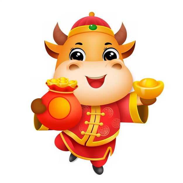 身穿传统服饰的牛年卡通小牛捧着福袋和金元宝新年春节快乐5333181PSD图片免抠素材