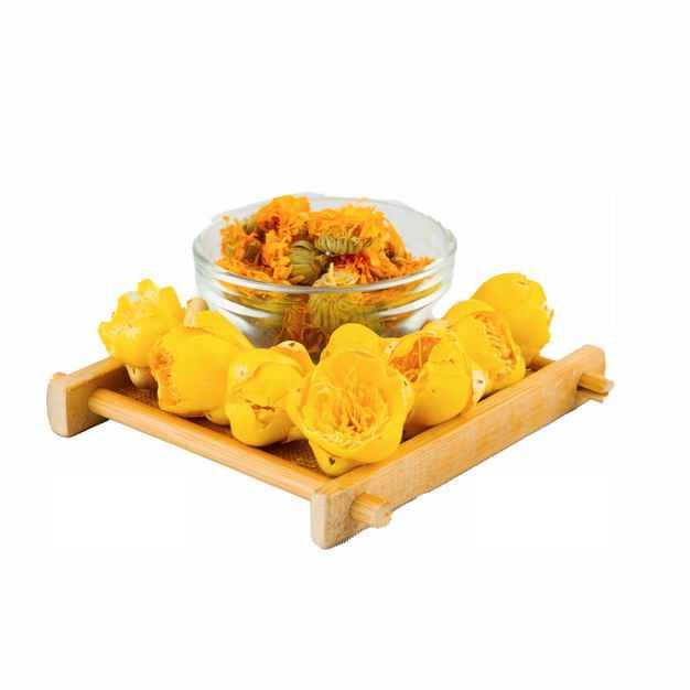 玻璃碗中的金盏花和黄玫瑰花茶等养生花茶901887png图片免抠素材