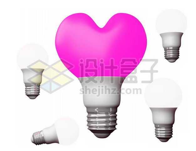 3D立体粉红色红心心形电灯泡情人节9613983图片免抠素材