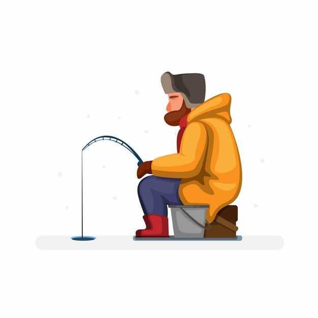 冬天坐在冰面上钓鱼的冰钓卡通男人5911200EPS图片免抠素材