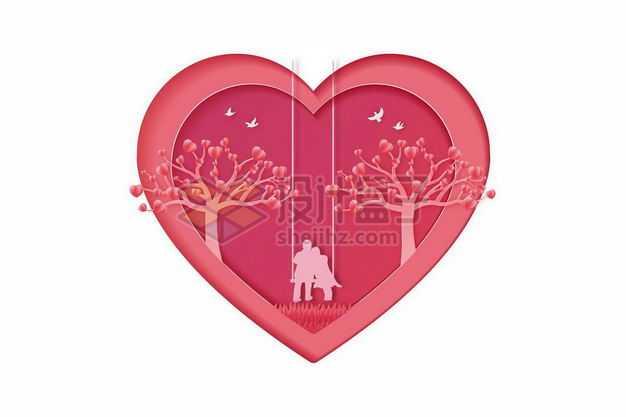 剪纸叠加风格坐在大树下荡秋千的情侣情人节2951412png图片免抠素材