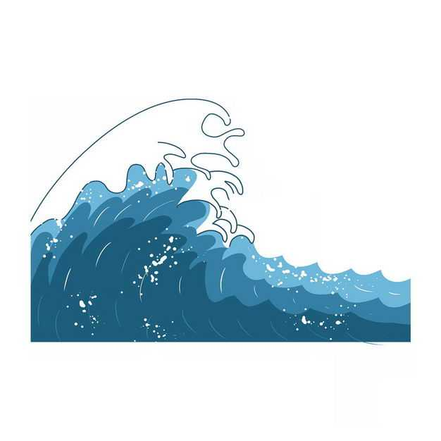 手绘风格蓝色浪花巨浪图案873688png图片免抠素材