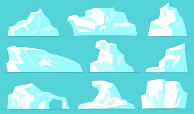 九款扁平化风格淡蓝色的冰山浮冰水上冰块2711324EPS图片免抠素材