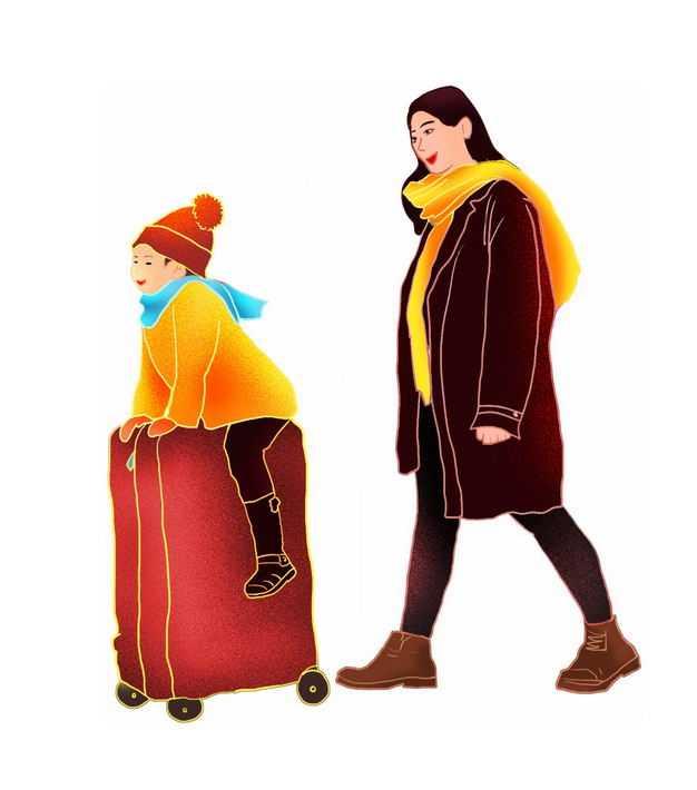 春节春运回家的妈妈和孩子手绘插画8898429PSD图片免抠素材