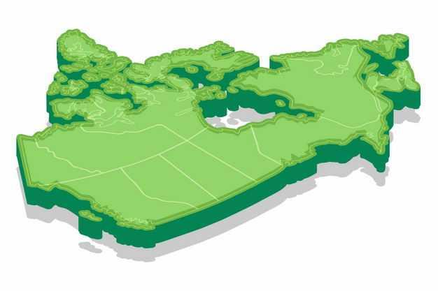 绿色3D立体加拿大地图9637942png图片免抠素材