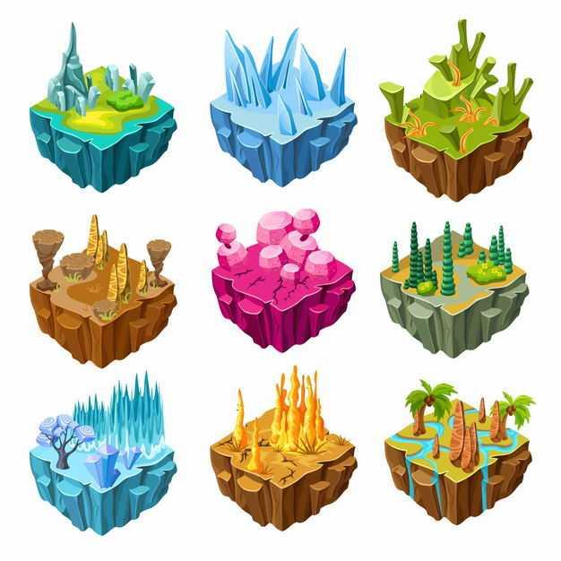 九款海岛冰川冰山沙漠雨林等卡通地形地貌悬空岛3587073EPS图片免抠素材