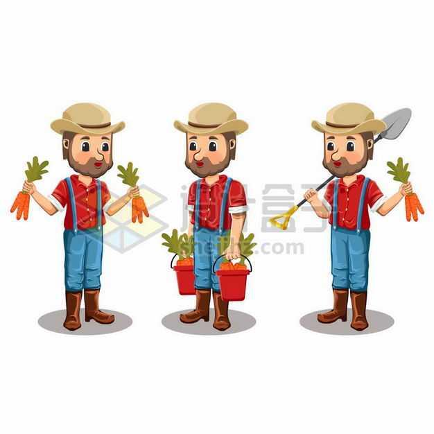 三款干农活的农民农夫3523619png图片免抠素材