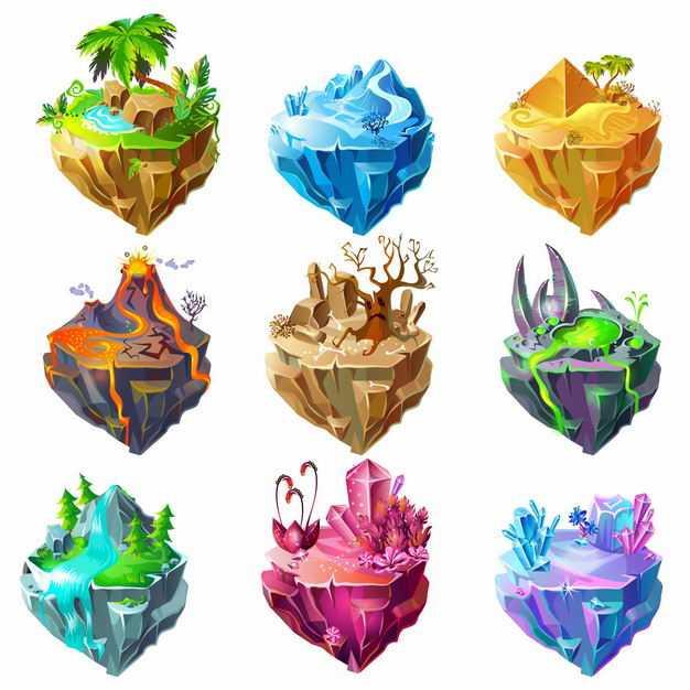 九款热带雨林冰山沙漠火山泉水瀑布等卡通地形地貌悬空岛7447586EPS图片免抠素材