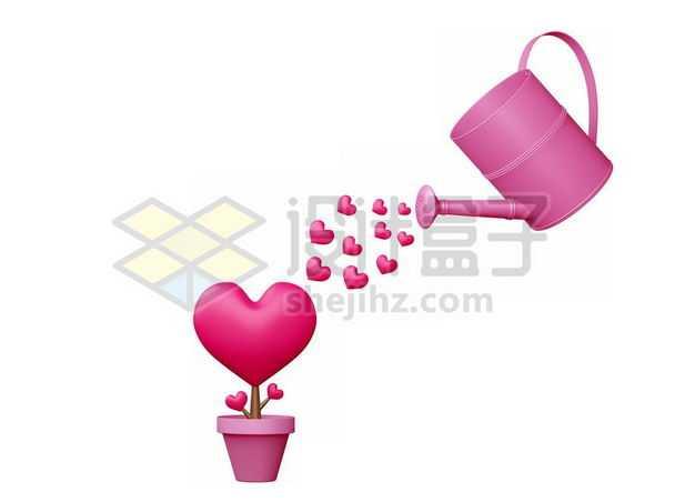 3D立体粉红色浇水壶正在浇灌爱心花盆情人节7450289图片免抠素材