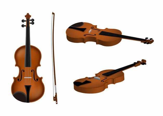 三种角度的小提琴音乐弦乐器和琴弓4387959EPS图片免抠素材