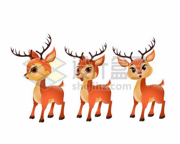 三款卡通梅花鹿小鹿6225677png图片免抠素材 生物自然-第1张