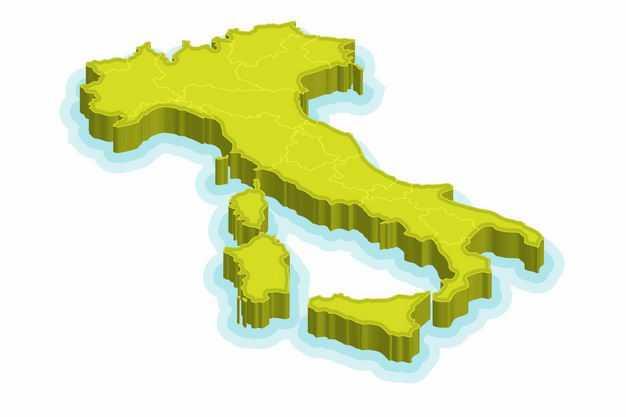 绿色3D立体意大利地图9602271png图片免抠素材