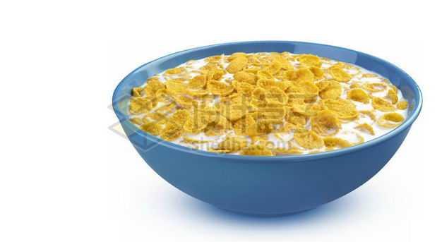 泡在牛奶中的玉米片麦片健康谷物早餐3892207图片免抠素材