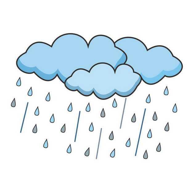 手绘风格蓝色的乌云和下雨9907284png图片免抠素材
