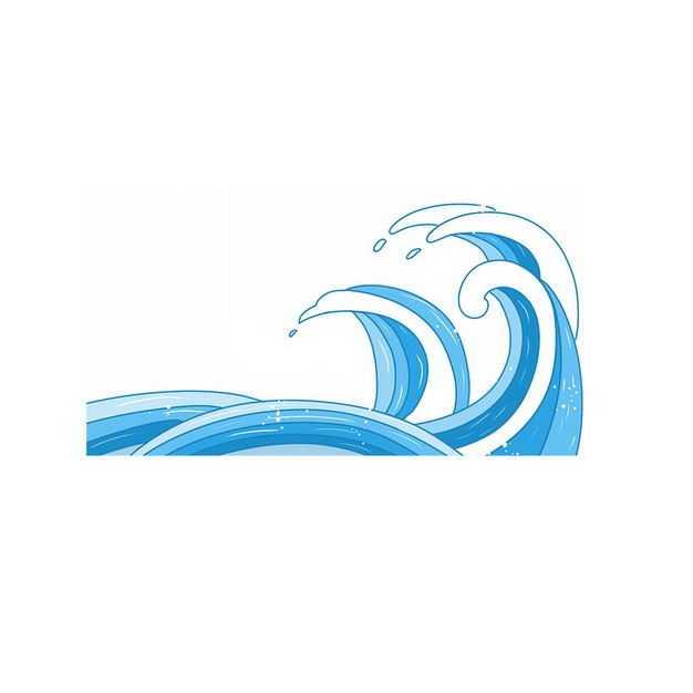 手绘风格蓝色浪花图案480126png图片免抠素材