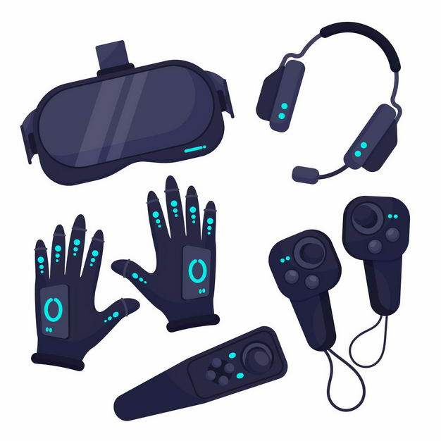 VR眼镜虚拟现实技术VR手套游戏手柄4483493png图片免抠素材