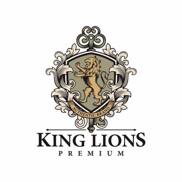 复古风格一只狮子纹章盾牌古代贵族标志徽章4035155EPS图片免抠素材