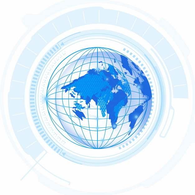 蓝色地球图案和科技风格装饰993823PSD图片免抠素材