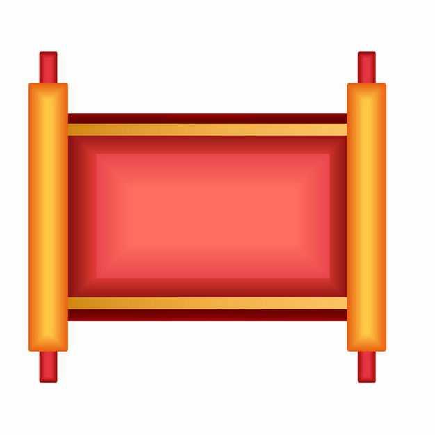 中国风卡通展开的新年春节卷轴文本框信息框7881857矢量图片免抠素材