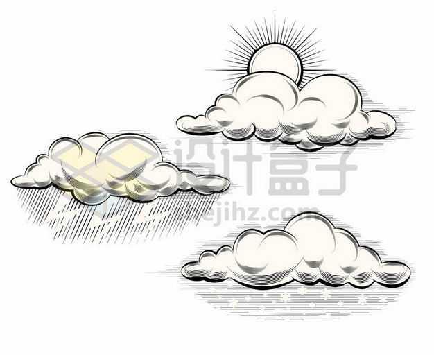 三款多云雷雨和下雪天气云朵手绘插画4890962png图片免抠素材