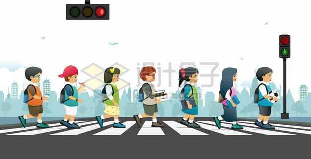 卡通小朋友排队通过斑马线人行横道过马路1472311png图片免抠素材