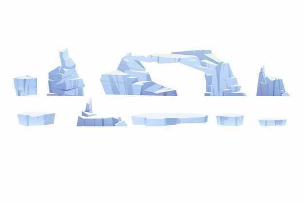 九款淡蓝色的冰山浮冰水上冰块5865396EPS图片免抠素材