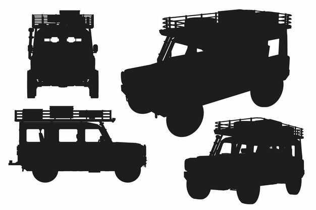 四款越野车吉普车汽车剪影8414387EPS图片免抠素材
