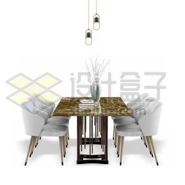 大理石餐桌和摆放整齐的靠背椅子餐椅餐厅家具4651373PSD图片免抠素材