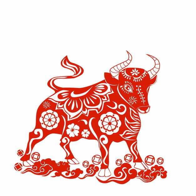 牛年红色剪纸装饰图案4793742矢量图片免抠素材