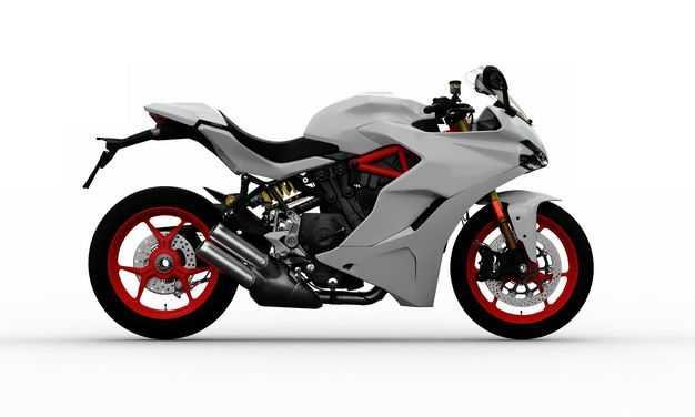 3D立体白色运动摩托车右侧视角6303160png图片免抠素材