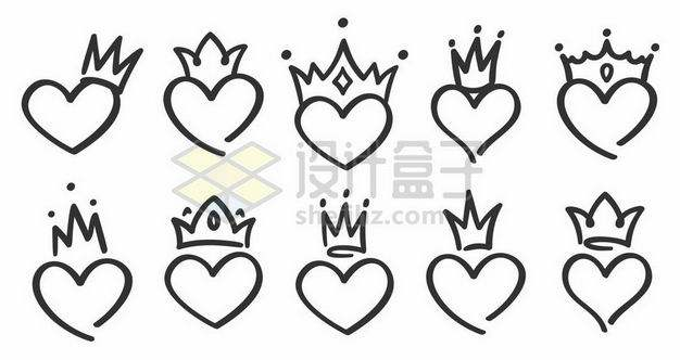 十款手绘风格戴着皇冠的心形图案9829715png图片免抠素材