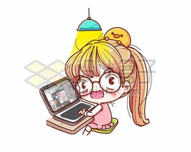 戴眼镜的超可爱卡通女孩在玩笔记本电脑9181583png图片免抠素材
