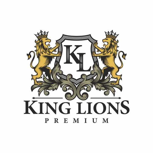 复古风格两只狮子纹章古代贵族标志徽章7719264EPS图片免抠素材
