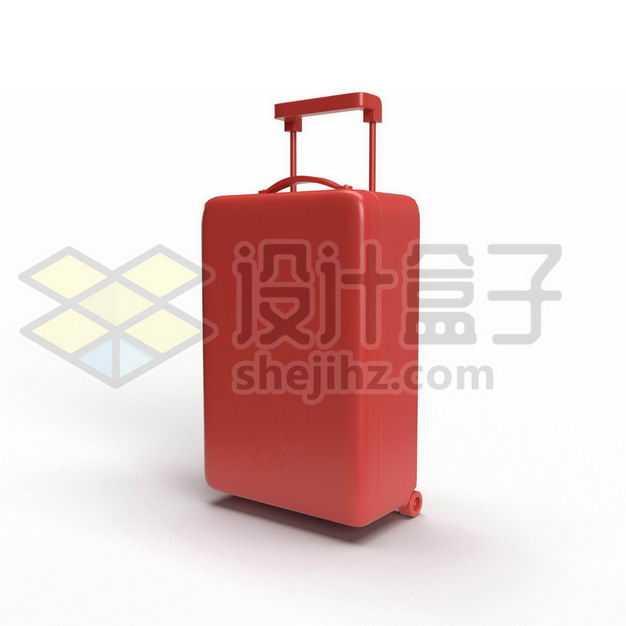 3D立体风格红色拉杆箱行李箱网红旅行箱侧前方图1509048PSD图片免抠素材