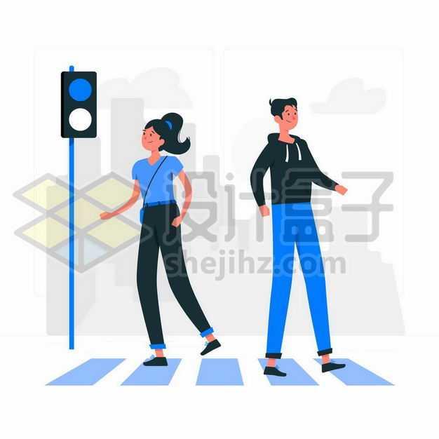 卡通男女正在斑马线上过马路交通安全配图2456324png图片免抠素材