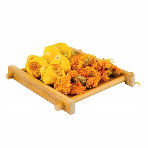 木头盘子中的黄色玫瑰花茶金盏菊养生花茶145383png图片免抠素材