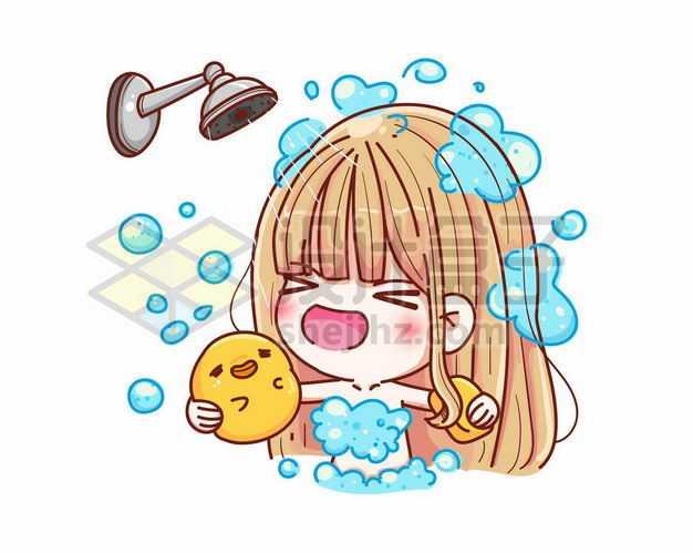 超可爱洗澡的卡通女孩9477634png图片免抠素材