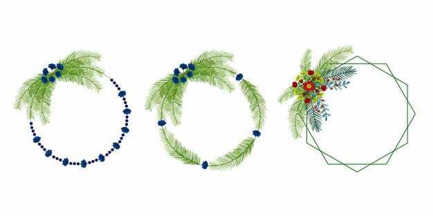 三款绿色树叶装饰的圆形多边形边框9169043EPS图片免抠素材