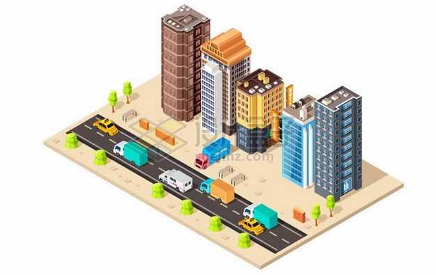 2.5D风格沙漠城市的街道和道路两旁的高楼大厦9973195png图片免抠素材