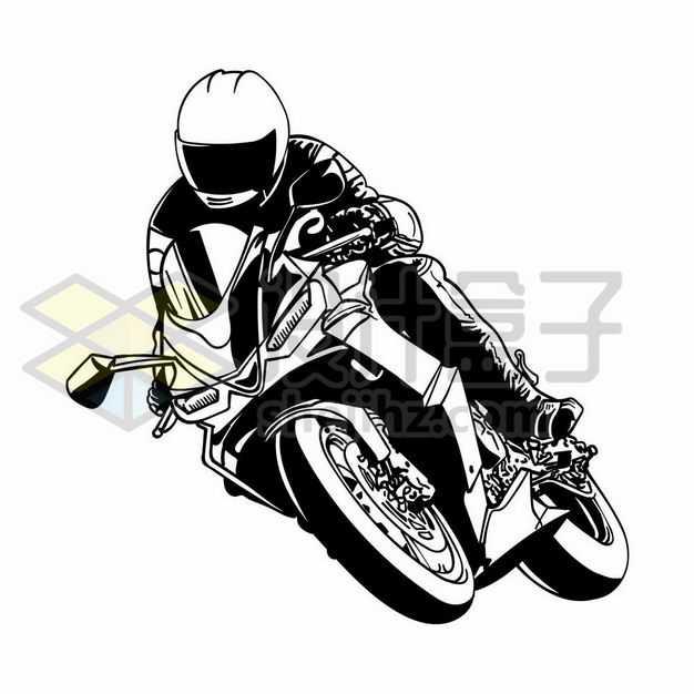 摩托车手骑着摩托车弯道转弯手绘黑白插画1826480png图片免抠素材