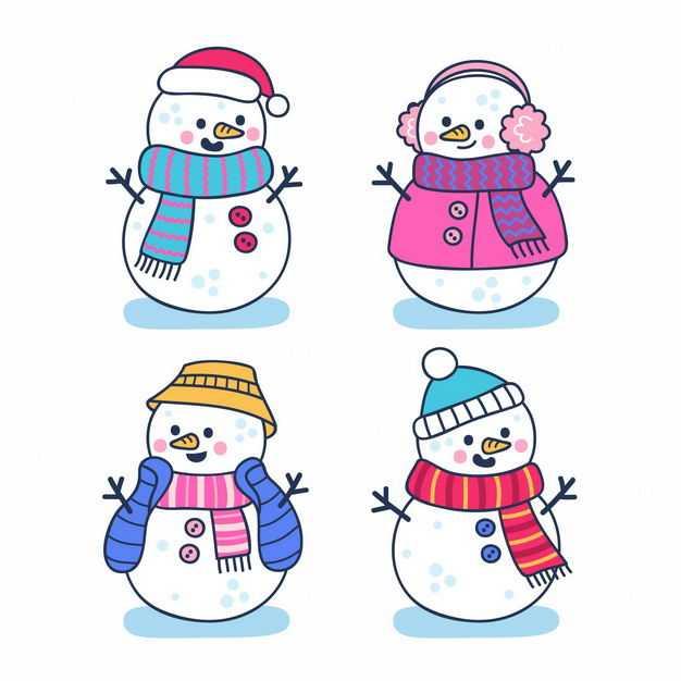 四款可爱的彩色围巾卡通雪人5920232png图片免抠素材