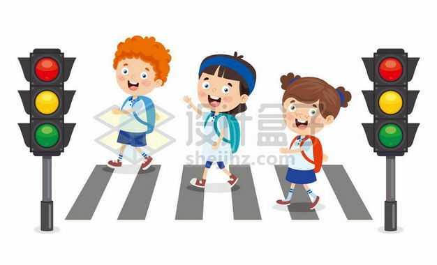 卡通小学生红绿灯斑马线过马路交通安全配图9698415png图片免抠素材