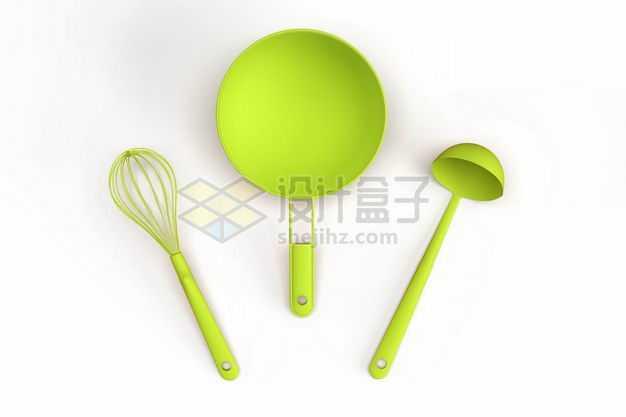 3D立体绿色炒锅汤勺和打蛋器等厨房用具模型3479511图片免抠素材