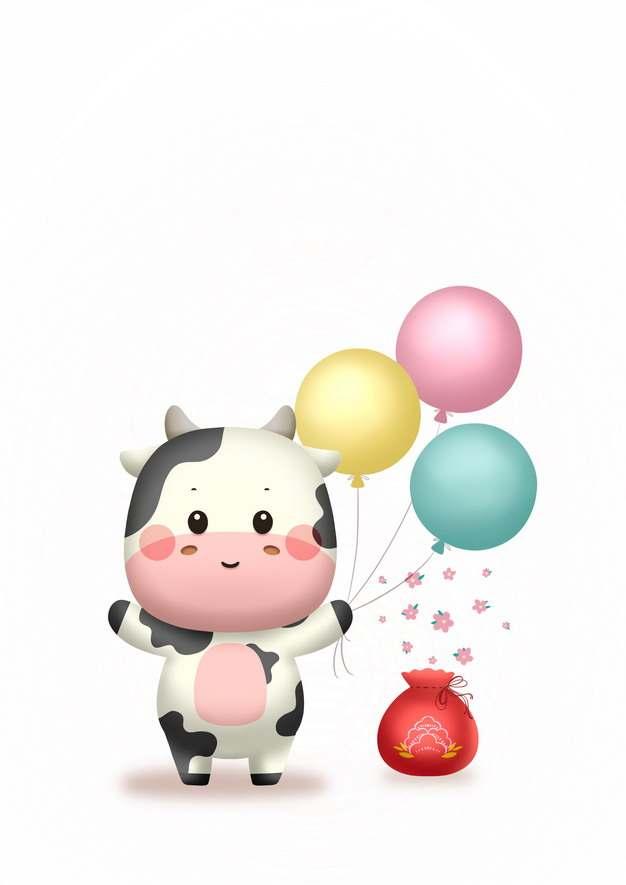 超可爱卡通奶牛拿着彩色气球牛年插画502582PSD图片免抠素材