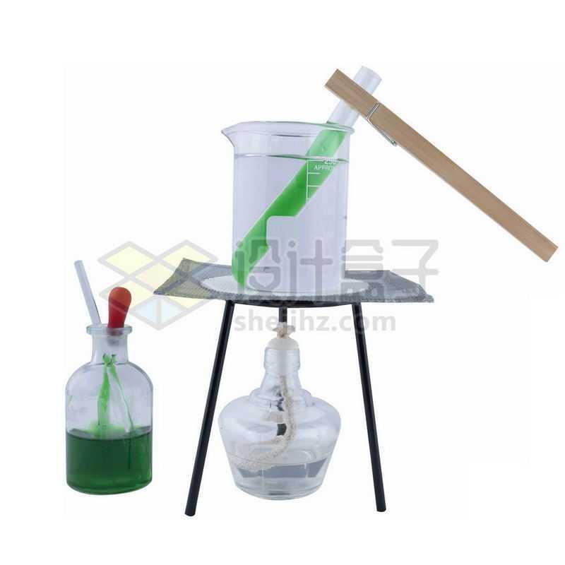 玻璃广口试剂瓶和酒精灯石棉网烧杯里加热试管等化学实验仪器2859666png图片免抠素材