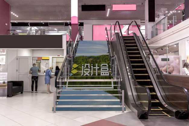 商场楼梯广告展示样机8991325PSD图片素材