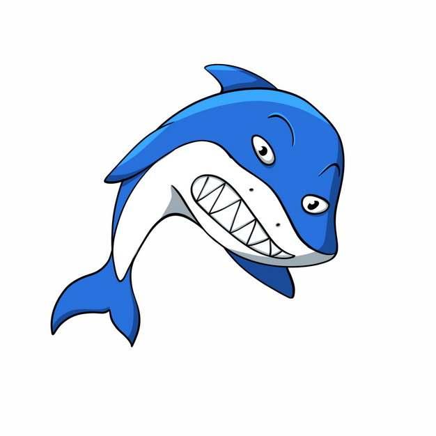 凶恶的卡通蓝白色鲨鱼手绘插画6404358png图片免抠素材