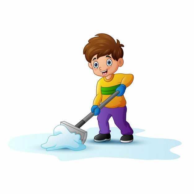 冬天正在铲雪除雪扫雪的卡通男人4014838EPS图片免抠素材