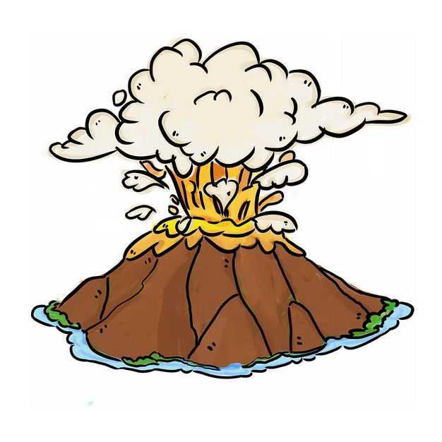 手绘风格卡通火山喷发出火山灰和熔岩流淌7021058png图片免抠素材